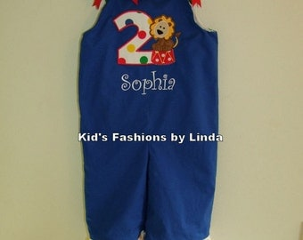 Girl's Ruffle Birthday Applique Number Royal Blue Longalls-Personalization Optional