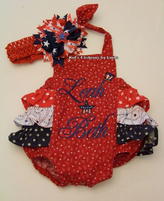 Personalized Red/White/Blue  Baby/Toddler Ruffle Bubble Romper
