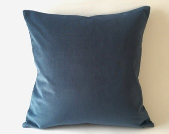 18x18 Teal Blue Cotton Velvet Pillow Cover- Square Decorative Throw Pillows- Invisible Zipper Closure- - Knife Or Piping Edge