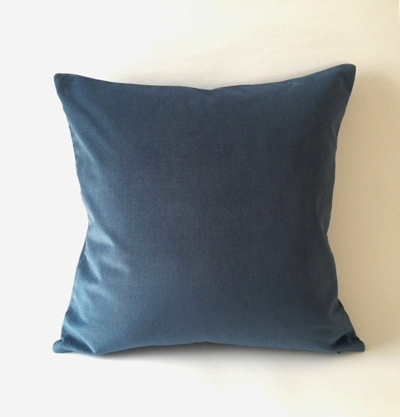 18x18 Teal Blue Cotton Velvet Pillow Cover Square Decorative