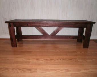 "48"" wooden bench rustic/entry bench/coffee table/hallway"