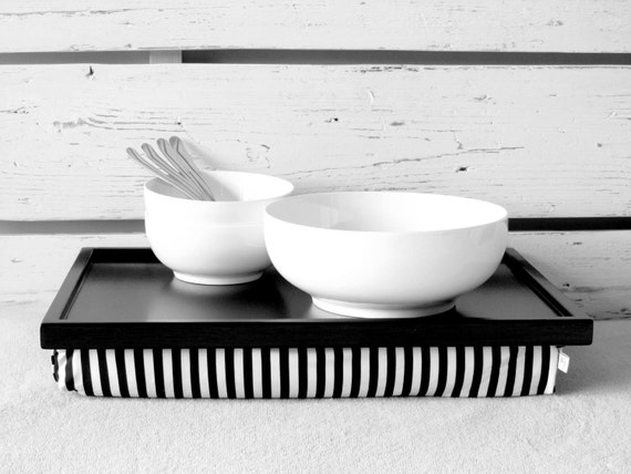 Breakfast serving or Laptop Lap Desk with Pillow Tray- Black and White with Stripes