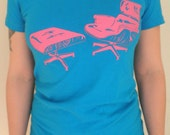 Eames Lounge Chair American Apparel Women's Teal T-Shirt