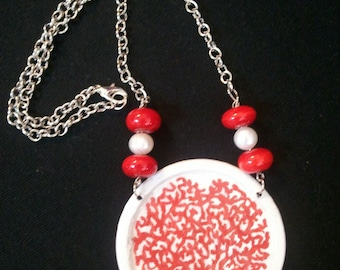 hand painted Coral Necklace--OOAK