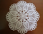Crochet doily white , pineapple doilies ,round ,lace 10 inches - kroshetmania