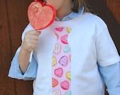 Valentine's Day Candy conversation heart tie tshirt