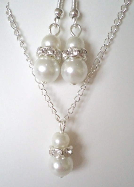 set of 3 bridesmaid gift set white pearl necklace and earring