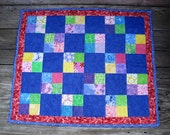 Cherry Red & Cerulean Blue Doll Quilt Flowers Lime Green Yellow Rainbow Summer Girls Toy Quilt 21x24.75- US Shipping Included