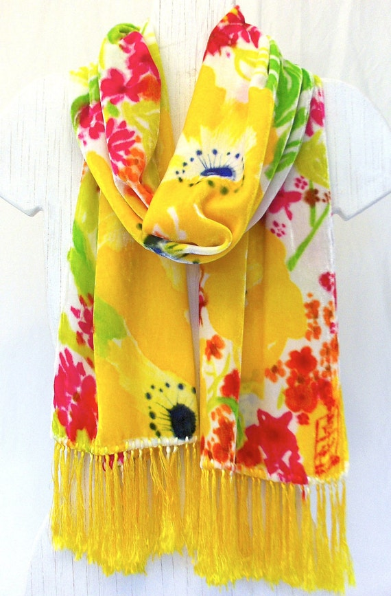 Silk Velvet Scarf Hand Painted. Sunny Yellow Wildflowers. Floral Silk Scarf Fringes. Fall Scarf. Hand Dyed Silk Scarf. 14x72 in.