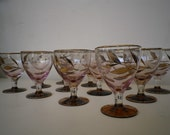Wine Glasses Vintage Blown Glass Elegant Coktail Drinking Cups Matching Set 12 Pcs
