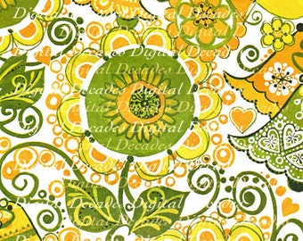 Funky Floral Flowers Yellow Sixties  Mid-Century Wedding Background - Digital Image - Vintage Art Illustration