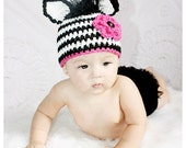 Zebra Crochet Hat Pattern PDF - fun to make for gifts - instructions for beanie, earflap, braids - Instant Digital Download