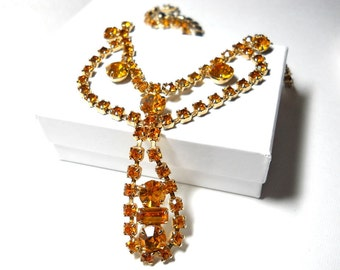 Vintage Rhinestone Necklace Amber Bib 1950s