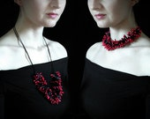 Necklace red black, statement elegant casual exotic - cluster polymer clay beadsstatement