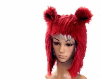 Red Bear Hat Faux Fur