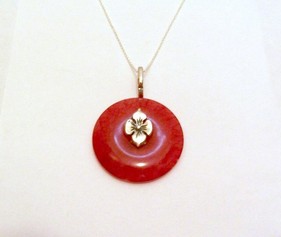 Red Jade Donut Pendant Sterling Silver Flower Jewelry
