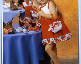 Crochet Dresses for Dolly and Me by Delsie size 2- 6  fits American Girl 18 inch doll pattern download through Etsy