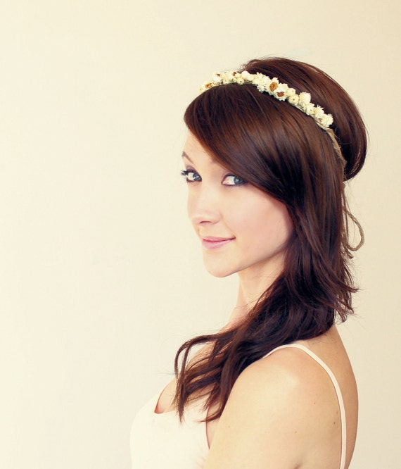 dainty daisy crown, bridal halo- DAISY