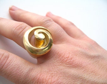 Shell inspired Gold Plated Brass Cocktail Ring - Summer Beach Ring- Large Statement Ring, Right Hand Ring, Swirl Shell Ring