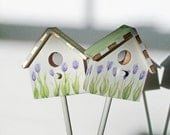 Simple Little Tulip Birdhouse Garden Stake with Sage Green Roof