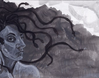 original painting - black and white - medusa - mythology - small acrylic - gorgon