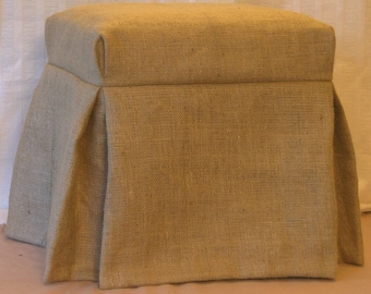 "Burlap Ottoman,  Piano Bench or Bed Bench Slipcover 49"" to 60"" long side, 85.00 Fully Lined"