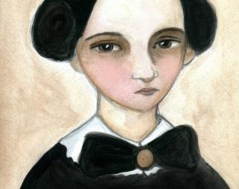 Victorian Portrait, Watercolor Painting, Art Print (6x8) 19th Century Teacher, Illustrated Lady