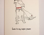 Border Collie Super Hero (4 PACK)  Line Drawing Blank Card Love