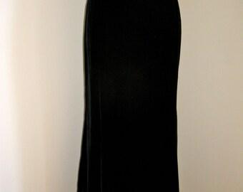 Vintage 1980s Claude Montana Designer Slinky Velvet Maxi Skirt