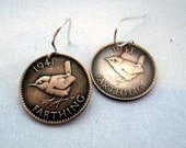 Coin Jewelry - WREN BIRD coin earrings - bird earrings - wren earrings - vintage coins - bird coins - England - Farthing - song bird