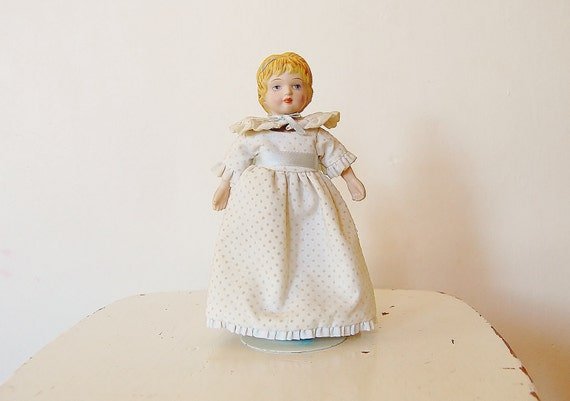 Doll Vintage Porcelain Blonde White Dress