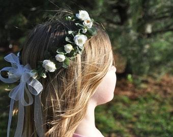Flower Girl Wreath, First Communion Floral Crown, Wedding Flowers, Flower Girl Headpiec by Holly's Flower Shoppe.