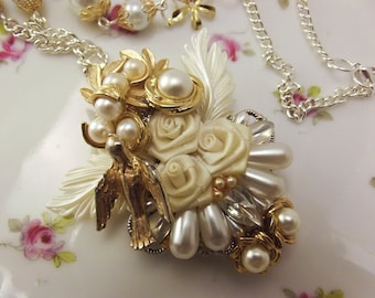 OOAK bridal Necklace, faux pearl necklace  Repurposed Jewelry necklace white and gold upcycled assemblage necklace
