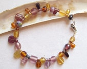 Bead Charm Bracelet, Amber & Amethyst Glass Bead Bracelet, Orchid and Gold bracelet  ID 012