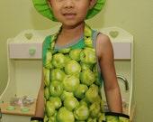 Child's Apron, Green Apples Apron, Child's Craft Apron
