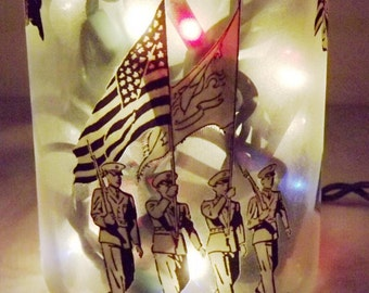 SALE--------Military/Soldiers Collage Wine Bottle Accent Lamp/Light-Heartwarming