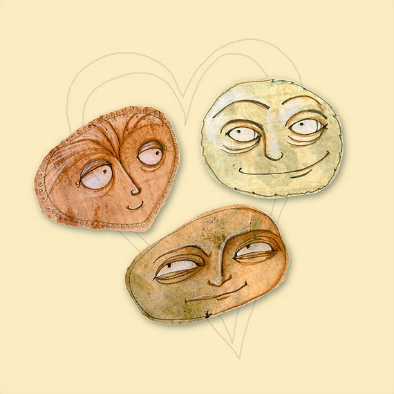 The Triangle - Giclee Print - Emotion Face Art Print - Face moods Print - Limited Edition Giclee Print