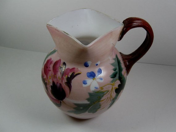 Antique Victorian Hand Blown Art Glass Pitcher Square Opening Applied Handle Hand Painted Floral Opaque Frosted trustyboomer