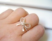 Cute Bow Ring - Hammered Sterling Silver Ring - Wire Wrap Ring - Promise Ring - Friendship, Love, Bridesmaid Gift
