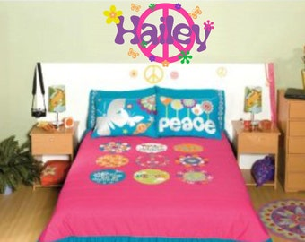 Peace Sign Decal Girl Name Wall Decal Retro Flowers Set Peace Sign Wall Art Teen Bedroom Decals Decor Girls Peace Sign Decor Decal Set