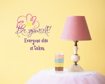 Girl Saying Wall Decal Teen Vinyl Lettering Bedroom DecorBe Yourself Inspirational Quote