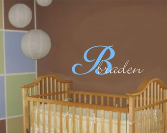 Baby Boy Girl Name Initial Wall Decal Nursery Vinyl Sticker Decor Large