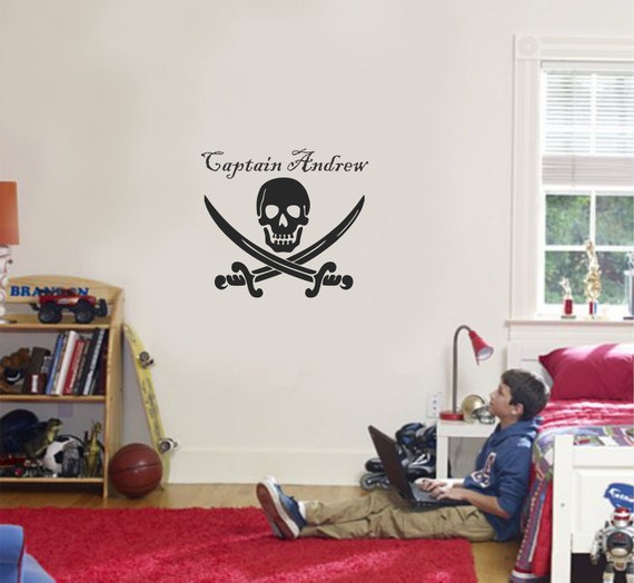 pirate wall decal pirate room decor personalized name wall. Black Bedroom Furniture Sets. Home Design Ideas