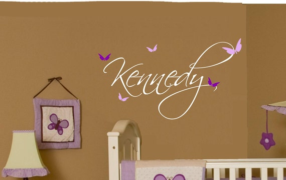 Butterfly Name Baby Girl Wall Decal Nursery Decor Vinyl