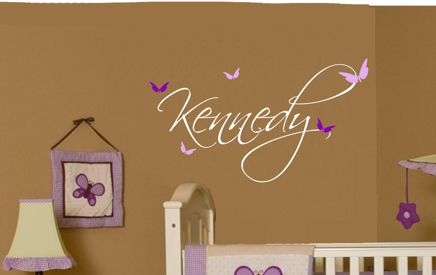 Butterfly name baby girl wall decal nursery decor vinyl for Room decor wall