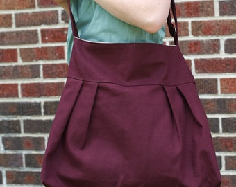 The Market Tote in Plum and Cream- Ready to Ship