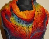 Rainbow Scarf, Rainbow Shawl, Triangle Shawl, Knit Shawl, Hand Knit Rainbow Scarf, Made to order