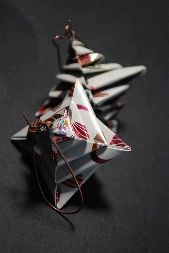 Shiny Pond - Origami Earrings Dangle Earrings Modern Earrings Paper Earrings