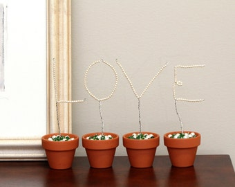 LOVE LETTERS Beaded Wire Topiary Art Home Decor Set