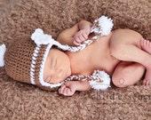 PDF Crochet Pattern Coffee Stripe Earflap Hat Sizes Newborn-3 Months
